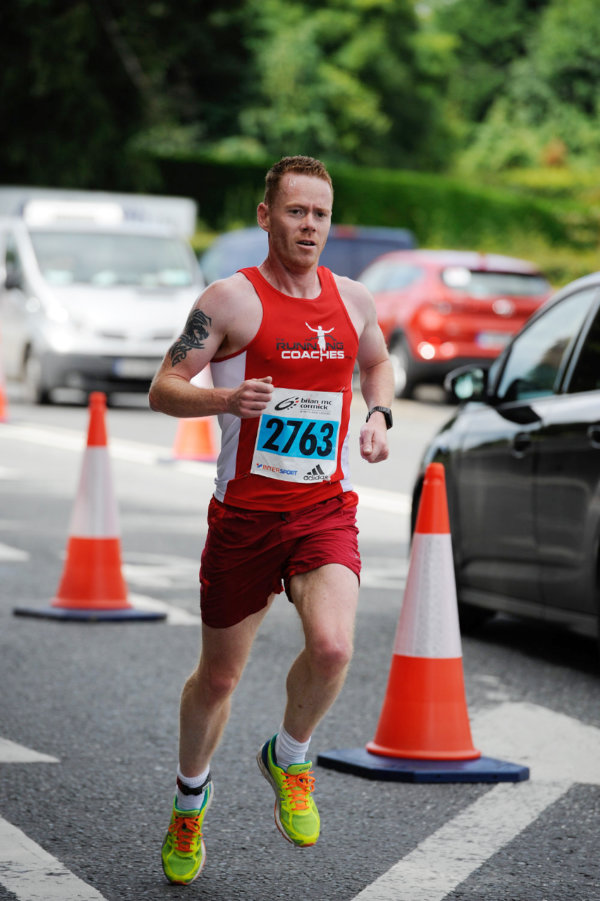 Winner of the 5 Mile race Dermot Mathers, as he approached the finishline. ©Rory Geary/The Northern Standard