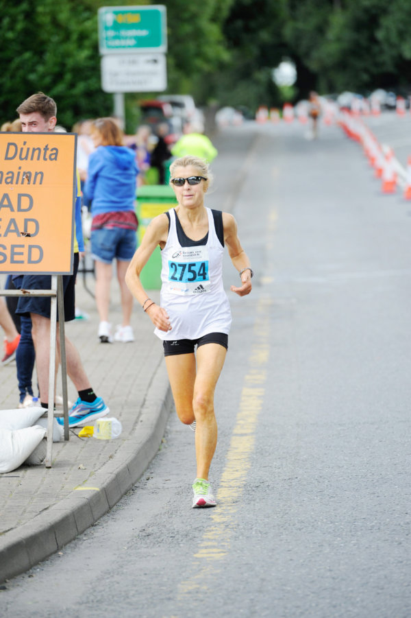 Ladies 5 Mile winner, Josephine Killeen, as she turned for the finishline. ©Rory Geary/The Northern Standard