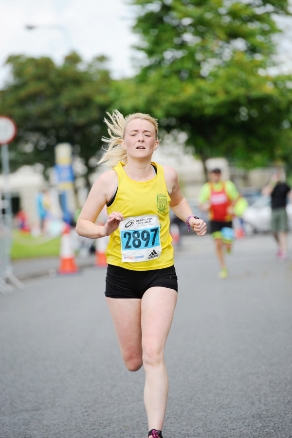 Brenda McCormack, Glaslough Harriers, finishing the 5 Mile race. ©Rory Geary/The Northern Standard