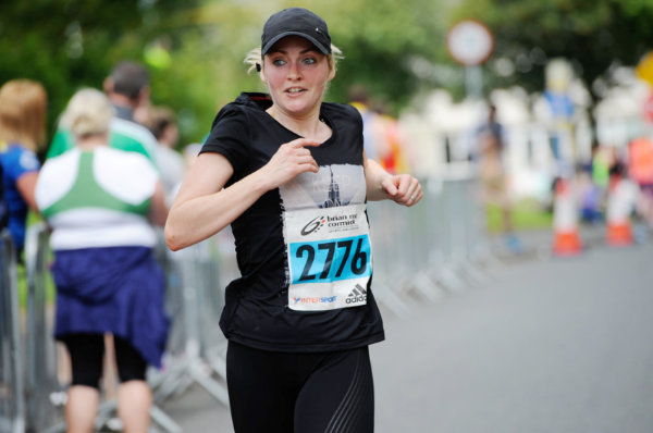 Jeannette McCarney as she finished the 5 Mile race. ©Rory Geary/The Northern Standard