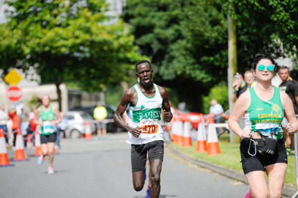 Winner of the Monaghan 10 Miler, Freddie Sittuk, Raheny AC, as he reached the finish of the race, last Sunday morning. ©Rory Geary/The Northern Standard