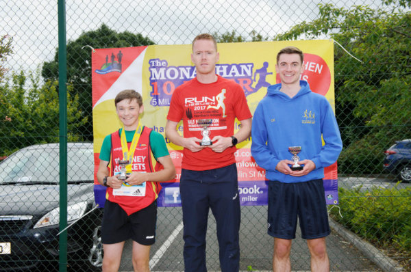 Winners of the 5 Mile Race at the presentation were (L-R) Ryan McMahon, 3rd, Blayney Rockets, Dermot Mathers, winner and  Colm Kirk, 2nd, Clones AC. ©Rory Geary/The Northern Standard