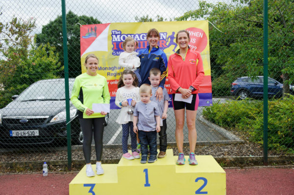The winners of the Ladies Monaghan 10 Miler at the presentation were (L-R) Laura Matthews, 3rd, Donna Moen, winner, Monaghan Town Runners, with Lilly, Finn, Sean and Maisie Moen and Nicola Flanagan, Blayney Rockets, 3rd. ©Rory Geary/The Northern Standard
