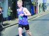 Winner of the Monaghan Town Runners Crocus 5k, Paul Peppard, Monaghan Phoenix AC, as he reached the finish. ©Rory Geary/The Northern Standard