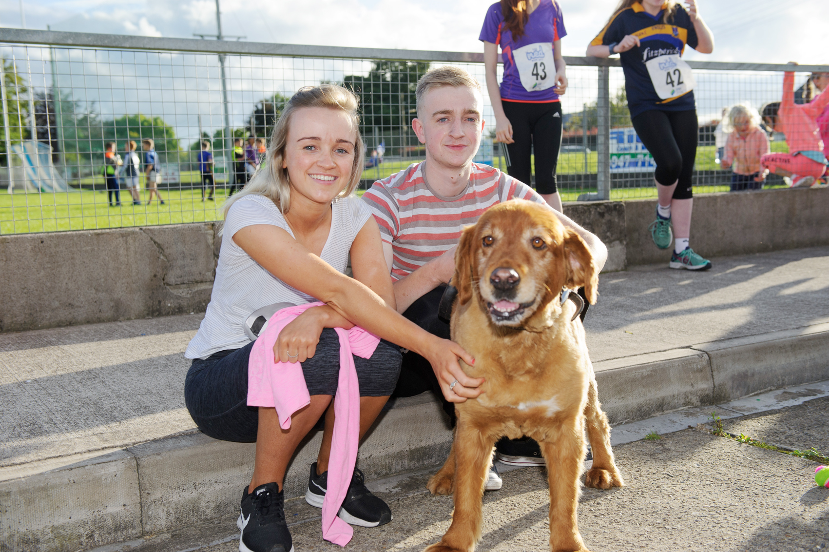 Aoife and Fintan Scott with Murphy at The Ned Run. ©Rory Geary/The Northern Standard