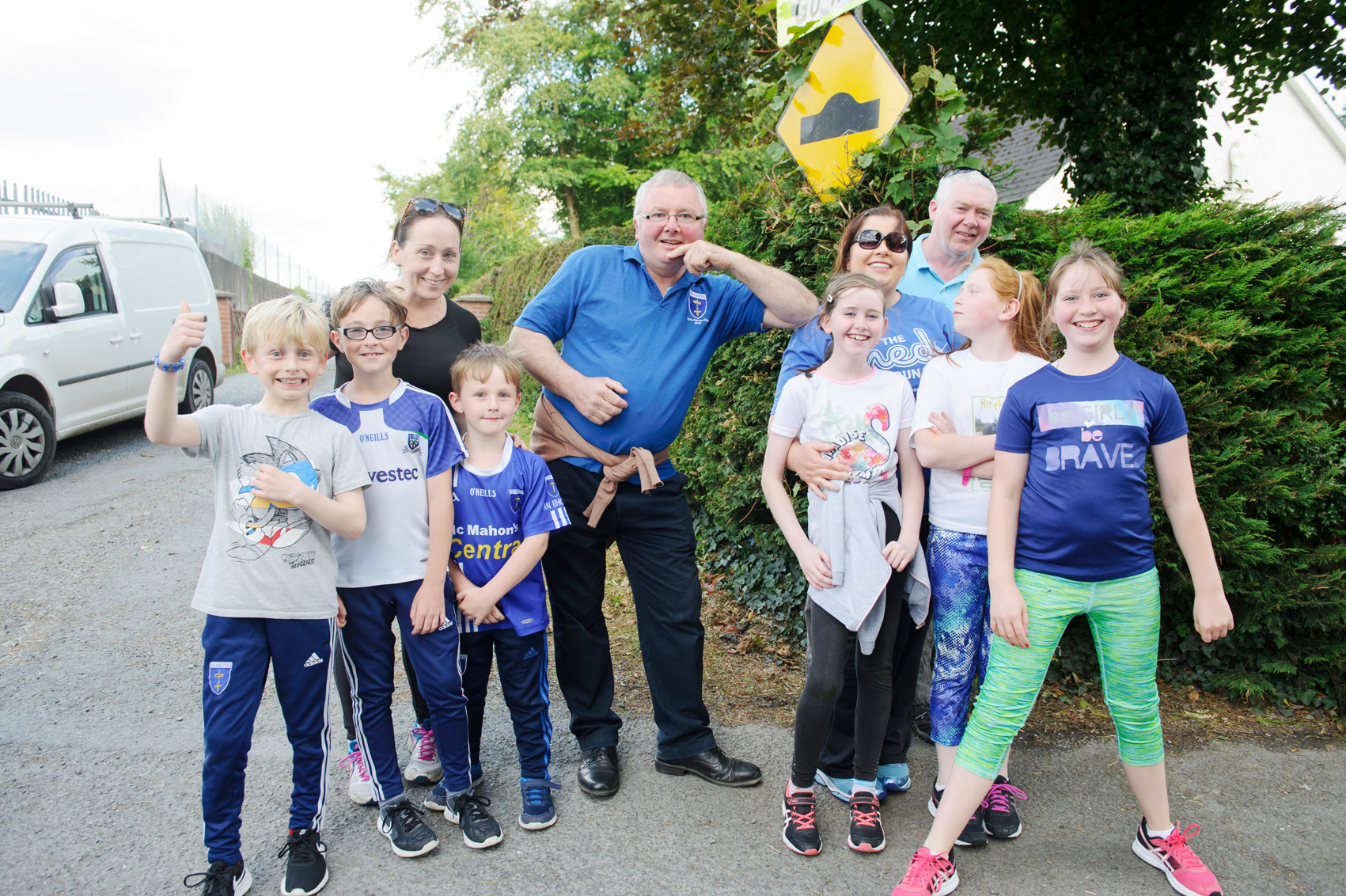Paddy Sherlock, centre, with some of the crowd at The Ned Run, in Scotstown, last Friday. ©Rory Geary/The Northern Standard