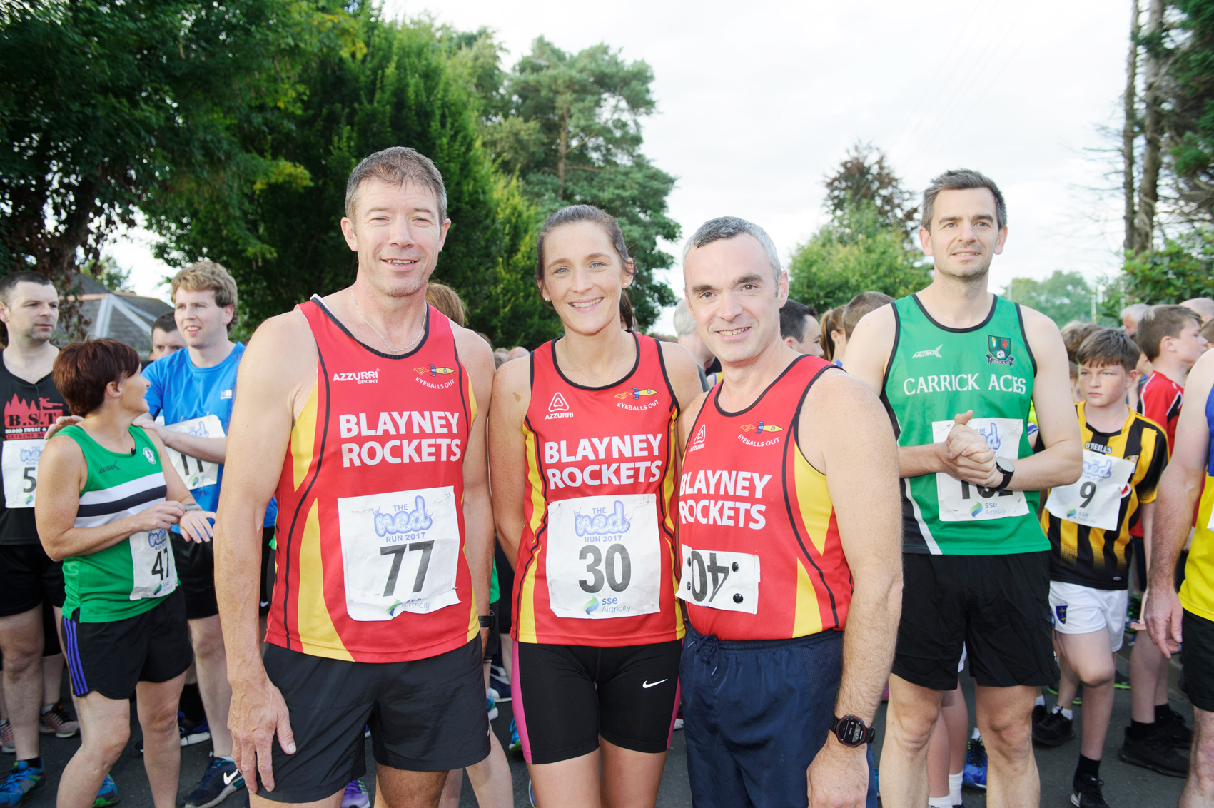 At The Ned Run were (L-R) Frankie Gorman, Nicola Flanagan and Derek Callan, from Blayney Rockets. ©Rory Geary/The Northern Standard