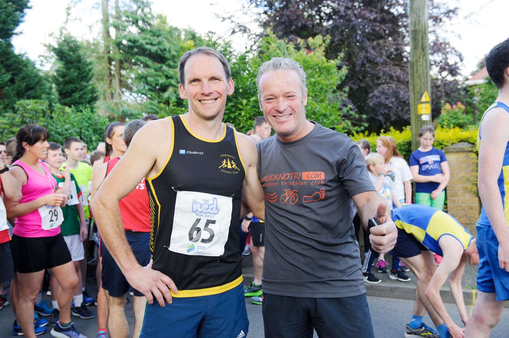 Aidan McKenna, Letterkenny AC, left, with Peter McKenna, at The Ned Run in Scotstown. ©Rory Geary/The Northern Standard