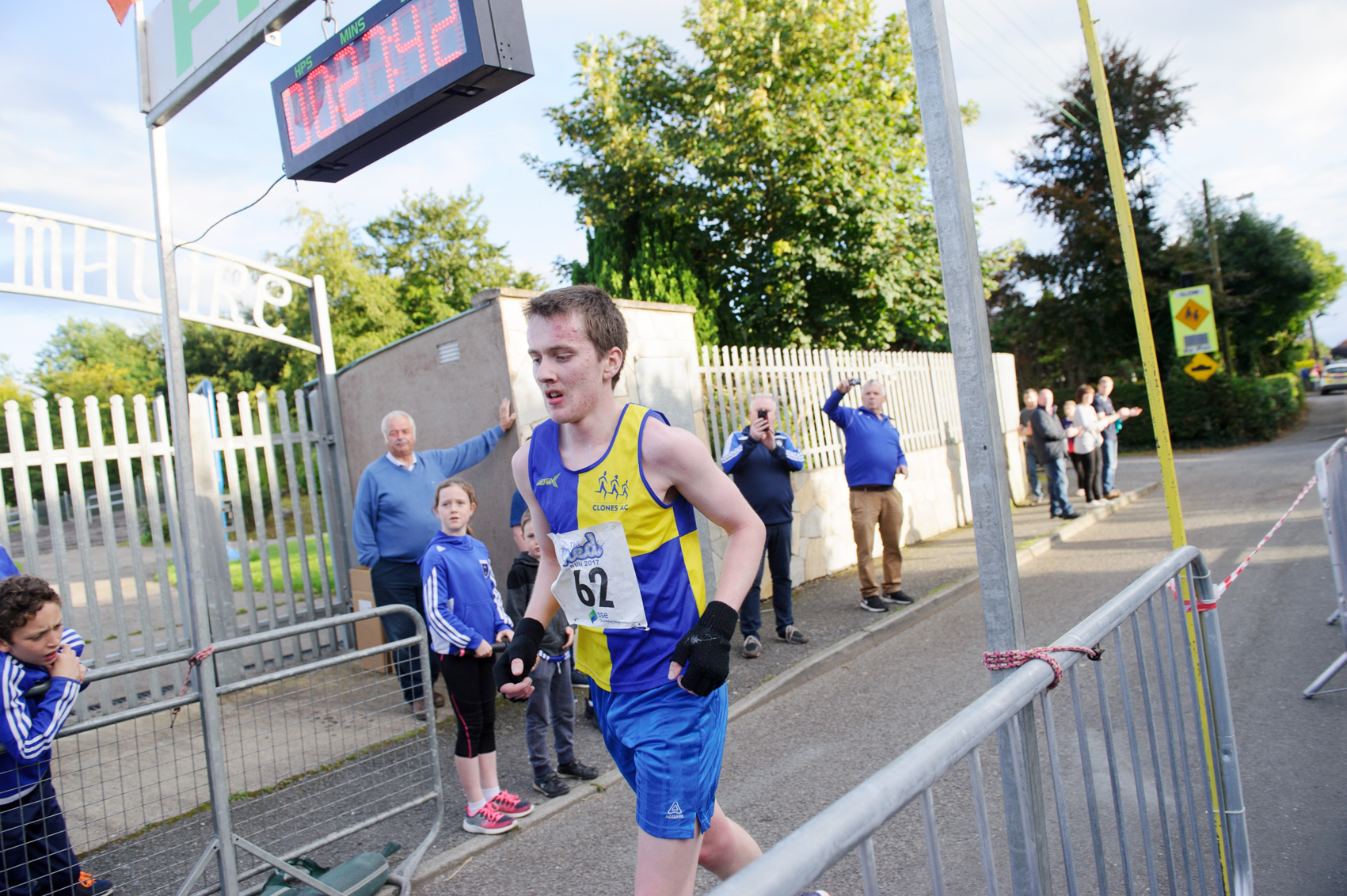 Shane Brady, Clones AC, crossing the finishline to win The Ned Run. ©Rory Geary/The Northern Standard
