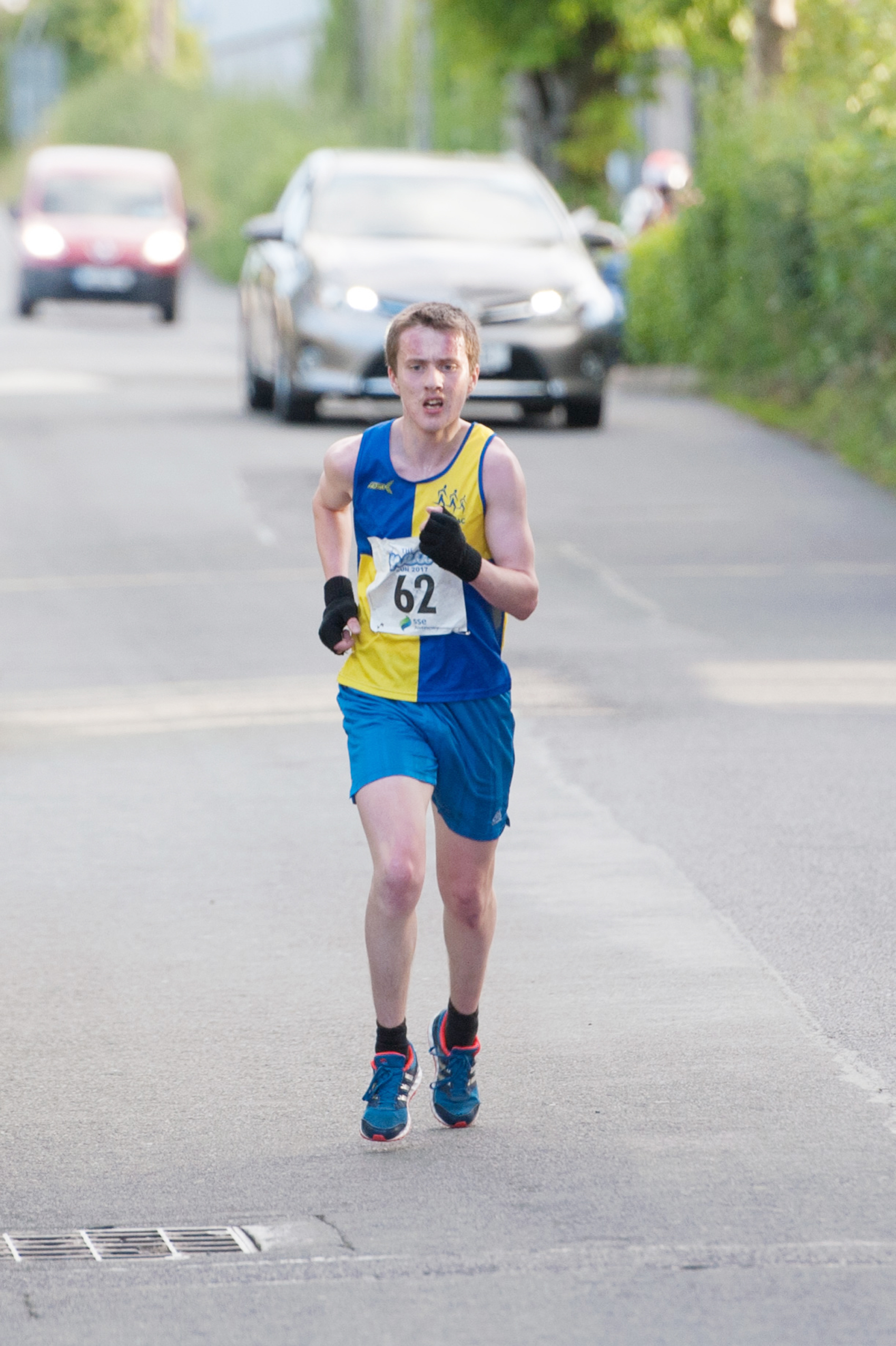 Shane Brady from Clones AC, approaching the finishline to win The Ned Run. ©Rory Geary/The Northern Standard