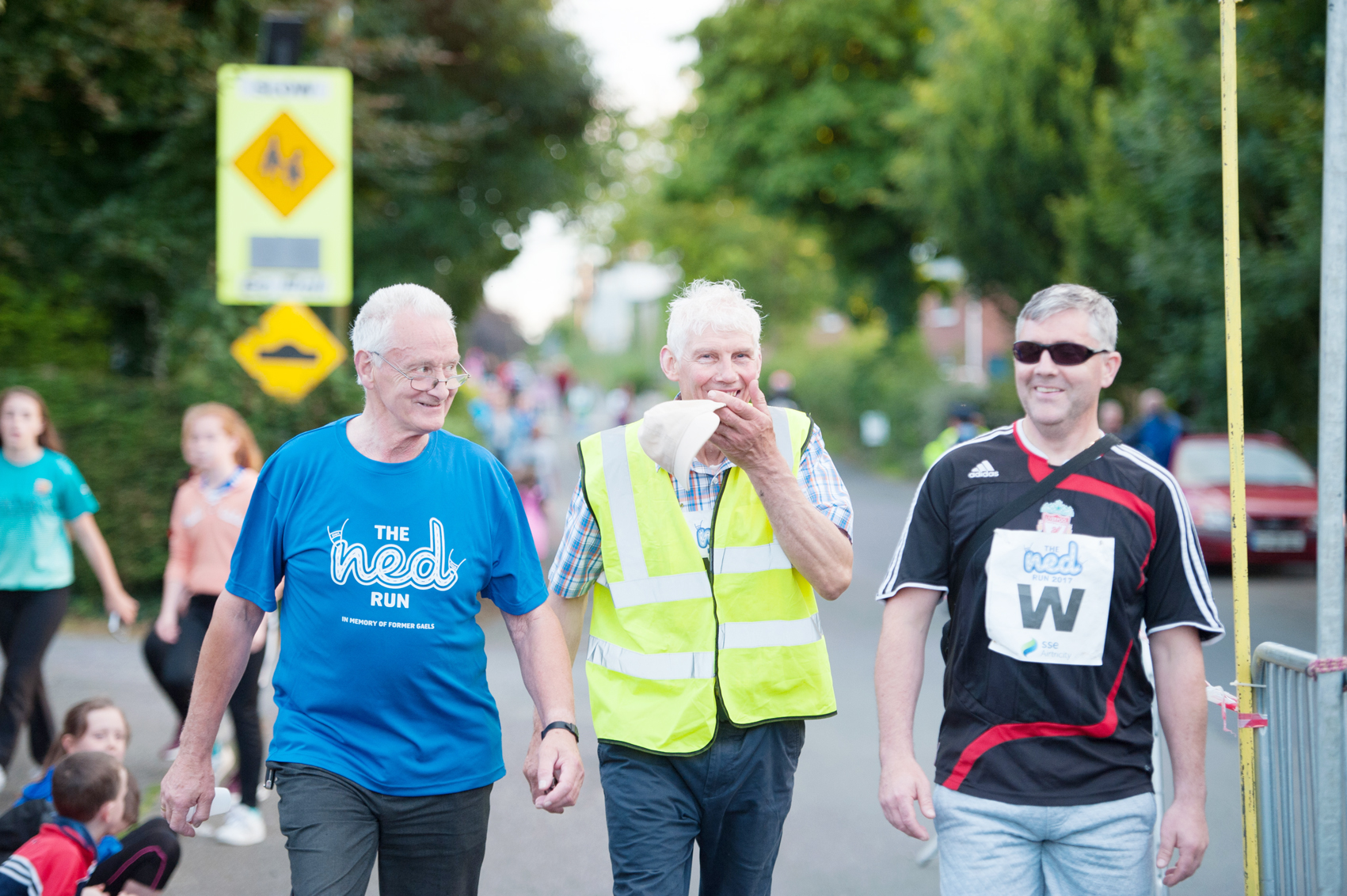 Matt McCrudden, Oliver McNally and Stephen Brannigan, as they finished The Ned Run in Scotstown. ©Rory Geary/The Northern Standard