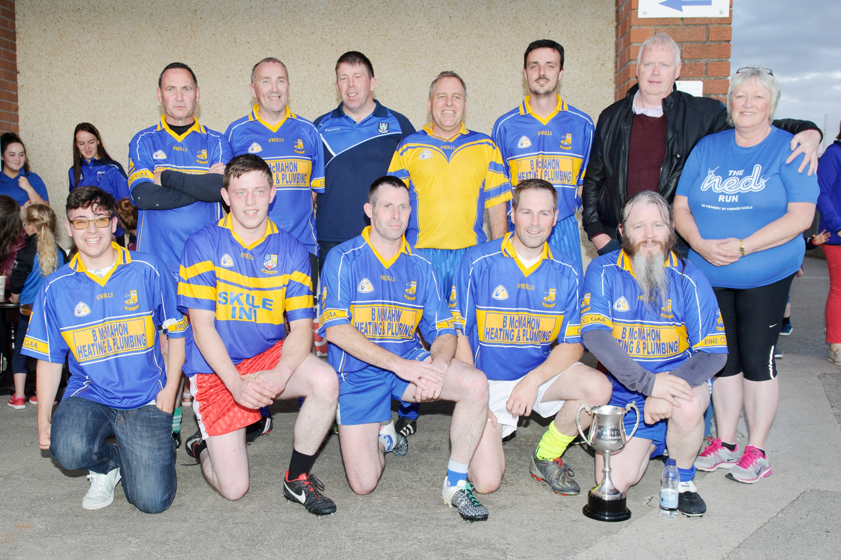 Members of the Éire Óg recreational football team, who won The Ned Boylan Cup, with Noeleen Boylan. ©Rory Geary/The Northern Standard