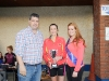 Ladies winner of The Ned Run, Nicola Flanagan, centre, Blayney Rockets, being presented with the cup by Stephen McKenna and Shauna McAree, Tydavnet Show Queen. ©Rory Geary/The Northern Standard