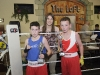 Jonathan McDonagh, Omagh Boys Academy, left and Patrick Lambe, Old School Boxing Club, with Katie Taylor, after their bout. ©Rory Geary/The Northern Standard