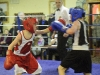 Niall Smyth, left, Old School Boxing Club  and D Sherry from Emyvale Boxing Club, in action during last weekend's tournament. ©Rory Geary/The Northern Standard