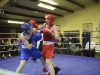Conor McKiernan, right, Castleblayney Boxing Club and his opponent Jake Tucker from Holy Trinity, in action at the Old School Boxing Club tournament. ©Rory Geary/The Northern Standard