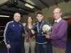 Stephen McKenna, who was the winner of the Irish Elite 49kg Championship last week with Fergal McKenna, Katie Taylor and Kenny Grey, when they made a presentation to him at the Old School Boxing Club tournament. ©Rory Geary/The Northern Standard