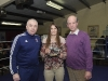 Fergal McKenna, left and Kenny Grey, making a presentation to Katie Taylor, who attended the Old School Boxing Club tournament. ©Rory Geary/The Northern Standard