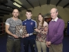 Geard Smyth, making the presentation of the James Smyth Memorial Trophy for Boxer of the Night at the Old School Boxing Club tournament, to Aaron McKenna. Also included are Katie Taylor and Kenny Grey. ©Rory Geary/The Northern Standard