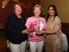 Rossmore Ladies captain, Mary McGann and Rita Shah (Shabra Plastics) present Mary Cully on winning the category 3 competition at the Oliver Bray Memorial Cup. ©Northern Standard