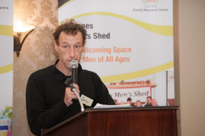 John Murphy, chairman of the Solas Drop-In Centre, speaking at the Clones Family Resource Centre's Peace of Mind positive mental health conference in The Creighton Hotel. ©Rory Geary/The Northern Standard