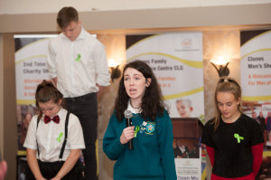 Emma McPhillips and members of the Largy College YSI Group, during their presentation at the Clones Family Resource Centre's Peace of Mind positive mental health conference. ©Rory Geary/The Northern Standard