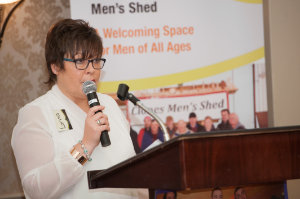 President of the Monaghan Federation of the ICA, Lorna Soden, speaking at the Peace of Mind positive mental health conference which was held by the Clones Family Resource Centre at The Creighton Hotel. ©Rory Geary/The Northern Standard