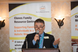 Gerry Lowry, area manager for Tusla, speaking at the Peace of Mind positive mental health conference, when he launched the Clones Family Resource Centre's new counselling service. ©Rory Geary/The Northern Standard