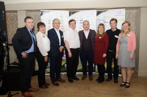 At the Clones Family Resource Centre's Peace of Mind positive mental health conference were (L-R) Gerry Lowry, Tusla, Lorna Soden, President, Monaghan ICA, Paddy Harte, International Fund for Ireland, Arthur Bray, Chairman, Clones Family Resource Centre, Shane Martin, Psychologist, Angela Graham, Clones Family Resource Centre, John Murphy, chairman, Solas Drop-In Centre and Dara MacGabhainn, Clones Family Resource Centre. ©Rory Geary/The Northern Standard