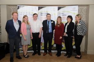 At the launch of the new counselling service at the Clones Family Resource Centre, which was launched at their conference in The Creighton Hotel, last week, were (L-R) Colm Lynagh, Dara MacGabhainn, Chairman of Clones Family Resource Centre, Arthur Bray, Gerry Lowry, Area Manager, Tusla, Angela Graham, Clones Family Resource Centre, Anne Davey and Ann Marie Fryers. ©Rory Geary/The Northern Standard