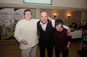 Shane Martin, centre, who was the keynote speaker at the Clones Family Resource Centre Peace of Mind positive mental health conference with Marie Slowey and Bríd Connolly, at the conference in The Creighton Hotel. ©Rory Geary/The Northern Standard