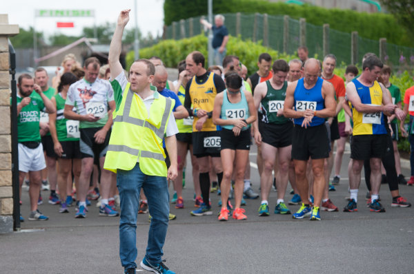 Liam Rooney, starting the 5Mile run for the Friends of Roslea Shamrocks Border Challenge, last Sunday morning. ©Rory Geary/The Northern Standard