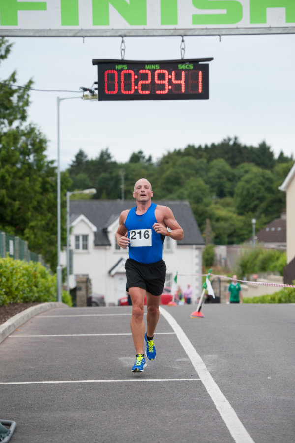 Shane King, winning the 5 Miler for the Friends of Roslea Shamrock's. ©Rory Geary/The Northern Standard