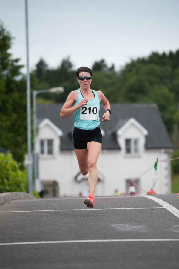 Denise Toner, Clones AC, who was the ladies winner of the 5 Miler for the Friends of Roslea Shamrock's. ©Rory Geary/The Northern Standard