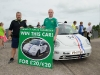 Gareth Keenan and Sean Boyle, with a Volkswagen Beetle, which is being raffled in aid of the Friends of Roslea Shamrock's, at the 5 Miler run, last Sunday. ©Rory Geary/The Northern Standard