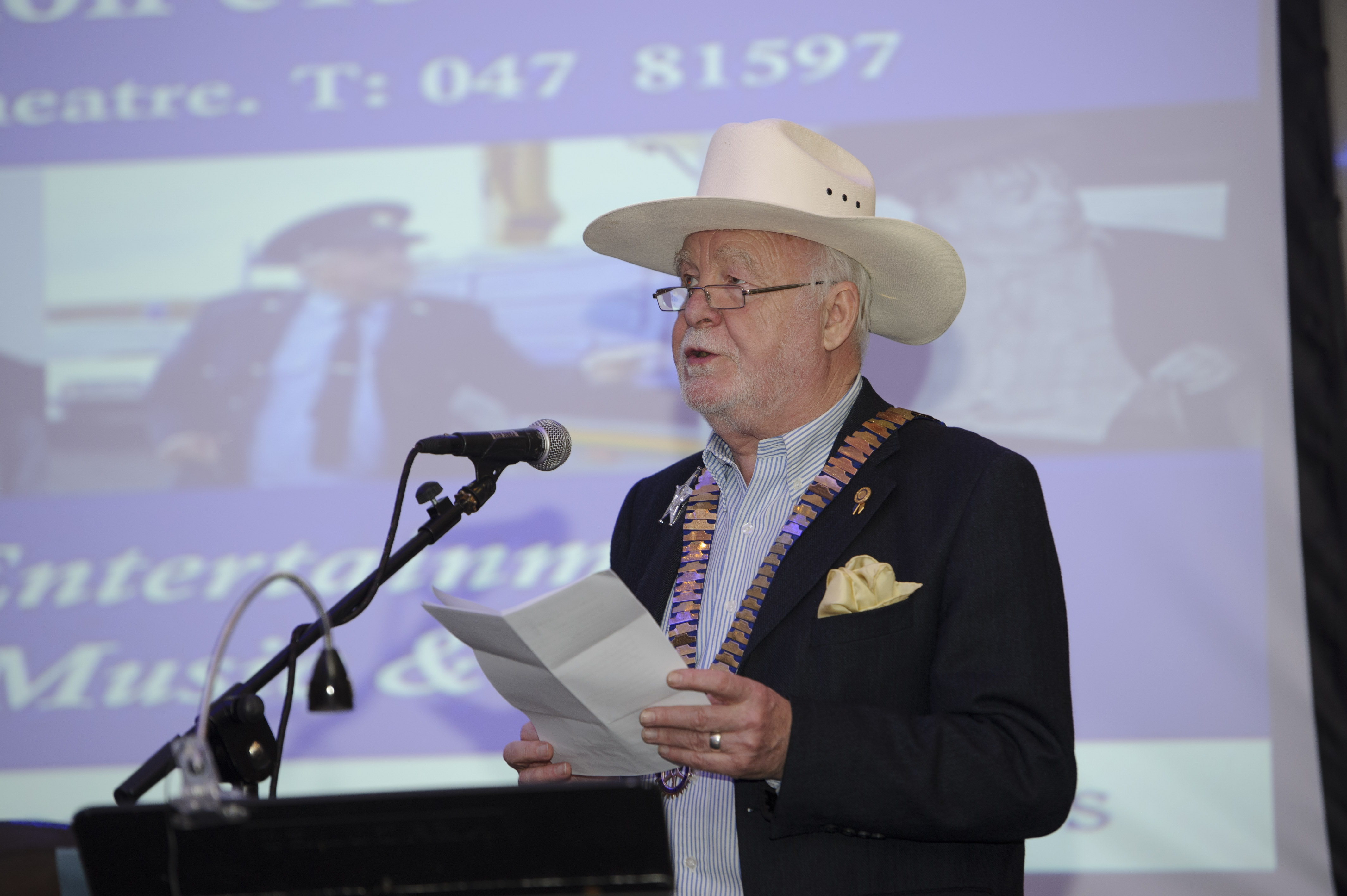 District Governor of Rotary Ireland, Declan Tyner, speaking at the Pat The President's Country Music & Western Night for Monaghan Rotary Club in The Hillgrove Hotel. ©Rory Geary/The Northern Standard