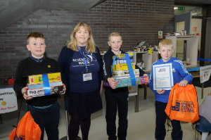 Winners of the Lego competition 8+ category at the presentation were (L-R) Conal Sheerin, 3rd, Deirdre McQuaid, Science Week coordinator, Darragh & Conor McMeel, winners. ©Rory Geary/The Northern Standard