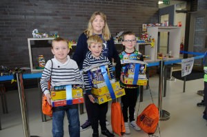 The winners of the Lego competition 7 and Under Category, with Deirdre McQuaid, were (L-R) Sean Bateson, 3rd, Daimhain Brett, winner and Liam McGovern, 2nd . ©Rory Geary/The Northern Standard