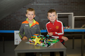 Fintan and Matthew Treanor, who were runners-up in the Lego competition 8+ Category, with their winning model. ©Rory Geary/The Northern Standard
