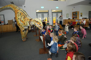 A dinosaur on the loose in the library of Monaghan Institute, during the Science Festival funday last Saturday. ©Rory Geary/The Northern Standard