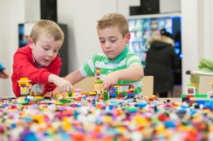 James and Cillian building with some of the lego that was available at the Science Festival funday last weekend at Monaghan Institute. ©Rory Geary/The Northern Standard