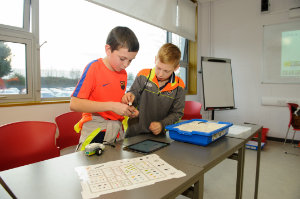 Donnacha Connolly and Adrian Larmer, working together on a Lego Mindstrorm build, during the science festival funday. ©Rory Geary/The Northern Standard