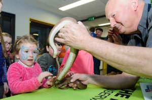 Nancy looking at a Rainbow Boa that was on display at the science festival funday with Nick from Dublin Zoo. ©Rory Geary/The Northern Standard