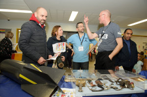 With some of the display of parts of the spitfire that was recovered from the dig outside Emyvale earlier this year were (L-R) Finbarr and Rhona Dunwoody, Jonny McNee and Allister Rafell. ©Rory Geary/The Northern Standard