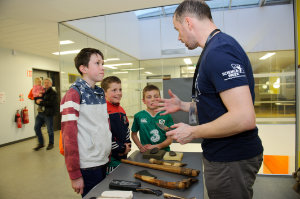 Curator of Monaghan County Museum, Liam Bradley, speaking to Conor, Diarmuid and Tomás, about the museum and its collection at the funday. ©Rory Geary/The Northern Standard