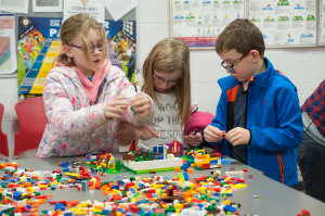Some of the children building Lego models at the science festival funday. ©Rory Geary/The Northern Standard