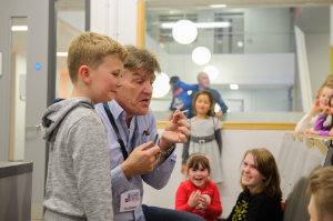 Michael Moylan from Irish History Live, with a volunteer during one of his workshops. ©Rory Geary/The Northern Standard