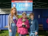 Tydavnet Show Queen Shauna McAree, left and President of Tydavnet Show, Mary Sherry, right, presenting Evelyn McMahon with the Maggie McQuillian Cup for Peas & Beans. ©Rory Geary/The Northern Standard