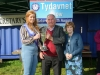 Tydavnet Show Queen Shauna McAree, left and President of Tydavnet Show, Mary Sherry, right, presenting Michael McQuillian with the Patton Cup for Potatotes and Seeds. ©Rory Geary/The Northern Standard