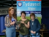 Tydavnet Show Queen Shauna McAree, left and President of Tydavnet Show, Mary Sherry, right, presenting Mairead Corr with the McKenna Kilrudden Cup for Wool Crochet. ©Rory Geary/The Northern Standard
